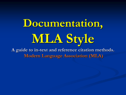 MLA STYLE A guide to in-text and reference citation …