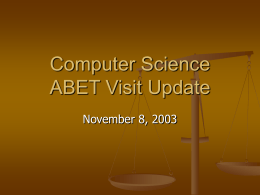 Computer Science ABET Visit Update