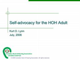 Self-advocacy for the HOH Adult