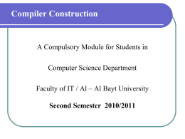 Compiler Construction - Al