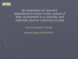 Empirical Research Findings Andreas Kollias (IACM/FORTH)