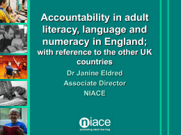 Accountability in Adult literacy, language and numeracy in