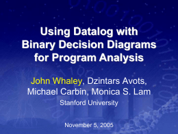 Program Analysis using Binary Decision Diagrams