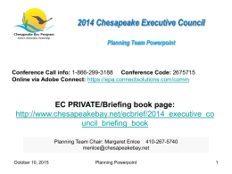 Reflections from the 2008 Chesapeake Executive Council …