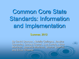 Common Core State Standards: Information and …