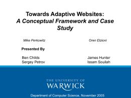 Towards Adaptive Websites: A Conceptual Framework …