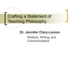 Writing a Statement of Teaching Philosophy