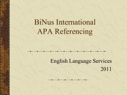 BiNus International Referencing Workshop