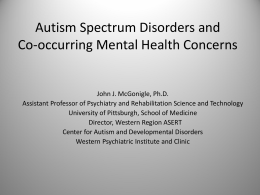 Identification of Co-Morbid Mental Health Issues in Autism
