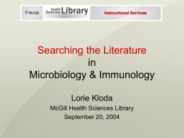 Searching the Literature in Microbiology & Immunology