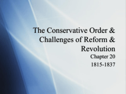 The Conservative Order & Challenges of Revolution