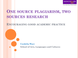 One source plagiarism, two sources research Encouraging