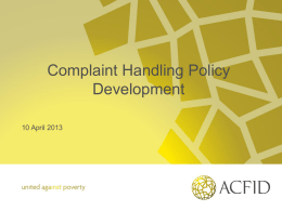 Complaint Handling Policy Development