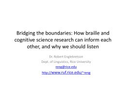Bridging the boundaries: How braille and cognitive …