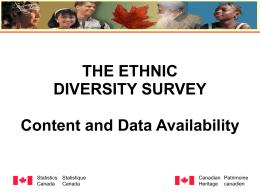 Canada's Ethno-cultural Portrait 2001 Census Release