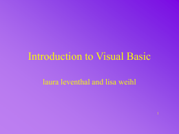 Introduction to Visual Basic - Bowling Green State University