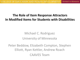 The Role of Item Response Attractors In Modified Items …