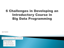 Eastern Ct State University Journey Through Big Data