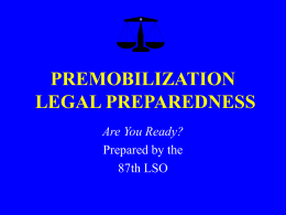PREMOBILIZATION LEGAL PREPAREDNESS