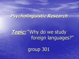 Psycho-linguistic Research
