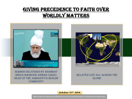 Giving precedence to faith over worldly matters