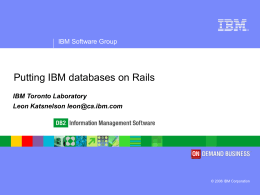 Putting IBM databases on Rails