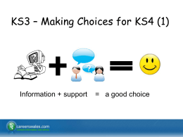KS3 – Making Choices for KS4