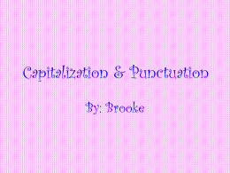 Capitalization & Punctuation