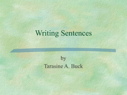 Writing Sentences - BYU English Language Center