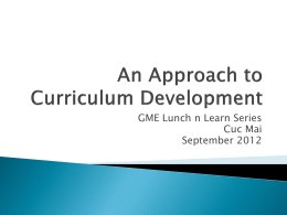 An Approach to Curriculum Development