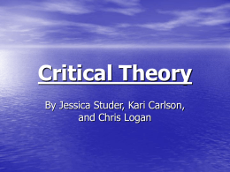 Critical Theory - Department of Sociology