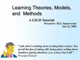 Learning Theories, Methods, and Models