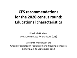 CES Recommendations for the 2020 census round: …