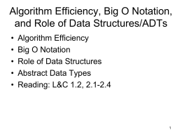 Algorithm Efficiency, Big O Notation, and Role of data