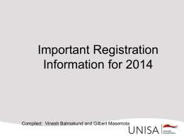Important Registration Information for 2013