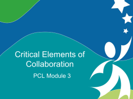 Critical Elements of Collaboration