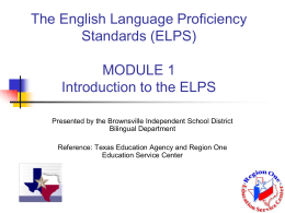 The Revised English Language Proficiency Standards (ELPS