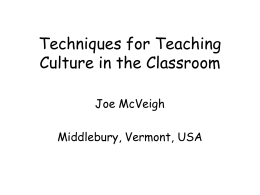 Culture in Second Language Teaching