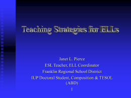 Teaching Strategies for ELLs - Franklin Regional School