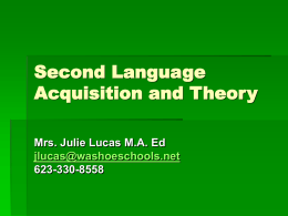 Second Language Acquisition and Theory