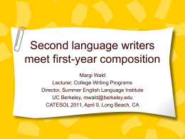 Second language writers meet first