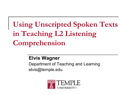 Second Language Listening: Research, Teaching, and Testing