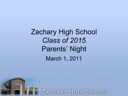 Zachary High School Class of 2014 Parents' Night