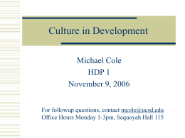 Culture in Development - UC San Diego Linguistics