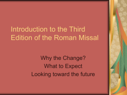 The Third Edition of the Roman Missal