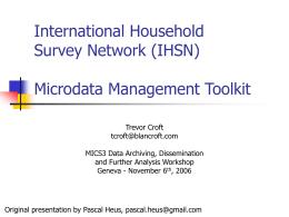 Data Archiving International Household Survey Network