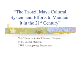 The Tzotzil Maya Cultural System and Efforts to Maintain