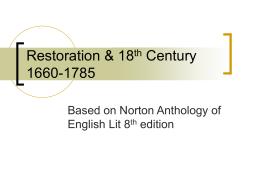 Restoration & 18th Century 1660-1785