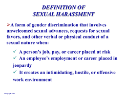 DEFINITION OF SEXUAL HARASSMENT Viewgraph # 22 -1