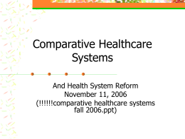 Comparative Healthcare Systems